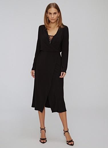 People By Fabrika Dantel Detaylı Kruvaze Elbise Siyah